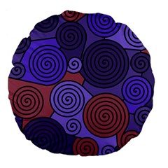 Blue and red hypnoses  Large 18  Premium Flano Round Cushions
