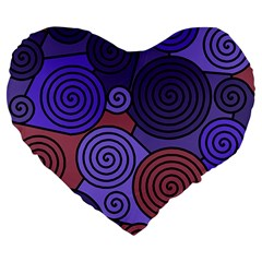 Blue and red hypnoses  Large 19  Premium Flano Heart Shape Cushions