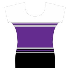 Horizontal Blocks of White, Purple and Black Women s Cap Sleeve Top