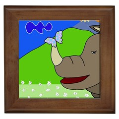 Butterfly and rhino Framed Tiles