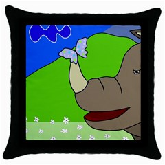Butterfly and rhino Throw Pillow Case (Black)