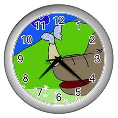 Butterfly and rhino Wall Clocks (Silver)
