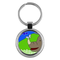 Butterfly and rhino Key Chains (Round)
