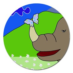 Butterfly and rhino Magnet 5  (Round)