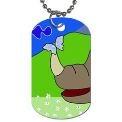 Butterfly and rhino Dog Tag (Two Sides)