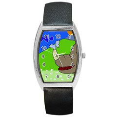Butterfly and rhino Barrel Style Metal Watch