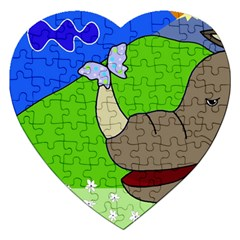 Butterfly and rhino Jigsaw Puzzle (Heart)
