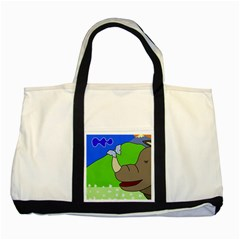 Butterfly and rhino Two Tone Tote Bag
