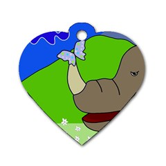 Butterfly and rhino Dog Tag Heart (Two Sides)