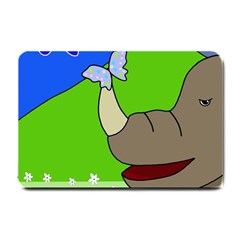 Butterfly and rhino Small Doormat