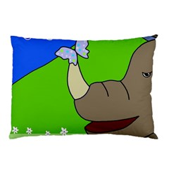 Butterfly and rhino Pillow Case