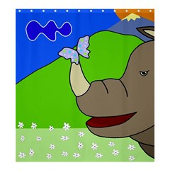 Butterfly and rhino Shower Curtain 66  x 72  (Large)