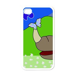 Butterfly and rhino Apple iPhone 4 Case (White)