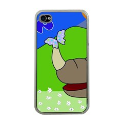 Butterfly and rhino Apple iPhone 4 Case (Clear)