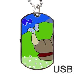 Butterfly and rhino Dog Tag USB Flash (Two Sides)