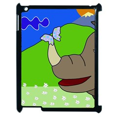 Butterfly and rhino Apple iPad 2 Case (Black)
