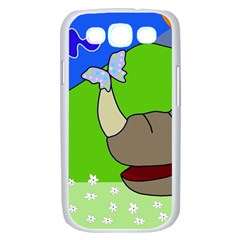 Butterfly and rhino Samsung Galaxy S III Case (White)