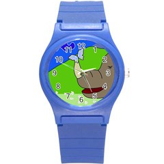 Butterfly and rhino Round Plastic Sport Watch (S)