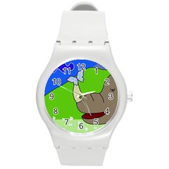 Butterfly and rhino Round Plastic Sport Watch (M)