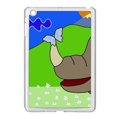 Butterfly and rhino Apple iPad Mini Case (White)