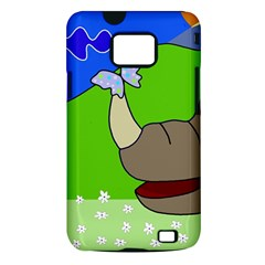 Butterfly and rhino Samsung Galaxy S II i9100 Hardshell Case (PC+Silicone)