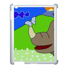 Butterfly and rhino Apple iPad 3/4 Case (White)