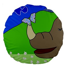 Butterfly and rhino Large 18  Premium Round Cushions