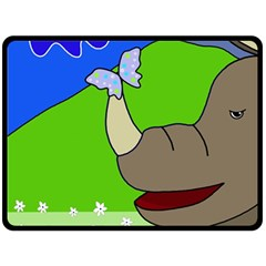 Butterfly and rhino Double Sided Fleece Blanket (Large)