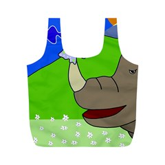 Butterfly and rhino Full Print Recycle Bags (M)