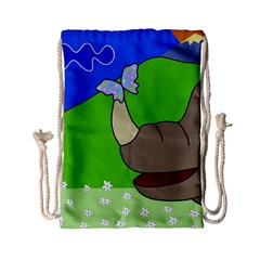 Butterfly and rhino Drawstring Bag (Small)