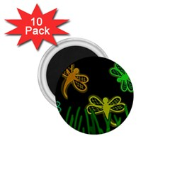 Neon dragonflies 1.75  Magnets (10 pack)