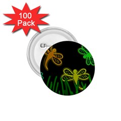 Neon dragonflies 1.75  Buttons (100 pack)