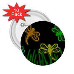 Neon dragonflies 2.25  Buttons (10 pack)