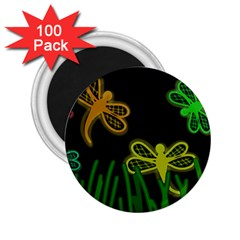 Neon dragonflies 2.25  Magnets (100 pack)