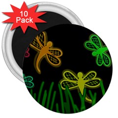Neon dragonflies 3  Magnets (10 pack)