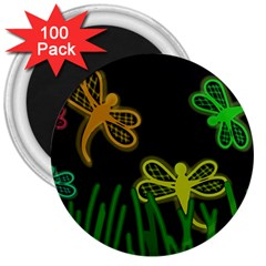 Neon dragonflies 3  Magnets (100 pack)