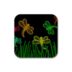 Neon dragonflies Rubber Square Coaster (4 pack)