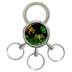 Neon dragonflies 3-Ring Key Chains