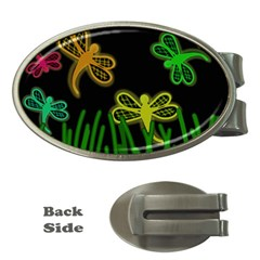 Neon dragonflies Money Clips (Oval)