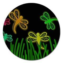 Neon dragonflies Magnet 5  (Round)