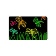 Neon dragonflies Magnet (Name Card)