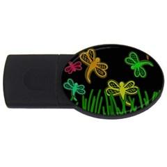 Neon dragonflies USB Flash Drive Oval (1 GB)