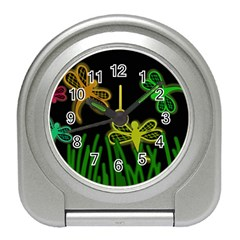 Neon dragonflies Travel Alarm Clocks