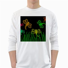 Neon dragonflies White Long Sleeve T-Shirts