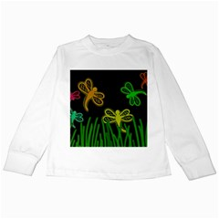 Neon dragonflies Kids Long Sleeve T-Shirts