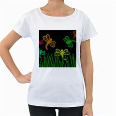 Neon dragonflies Women s Loose-Fit T-Shirt (White)
