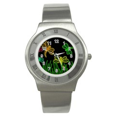 Neon dragonflies Stainless Steel Watch