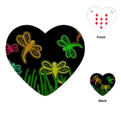Neon dragonflies Playing Cards (Heart)