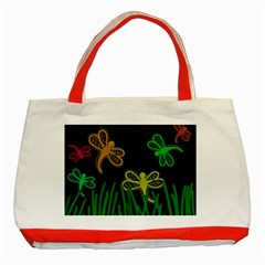 Neon dragonflies Classic Tote Bag (Red)