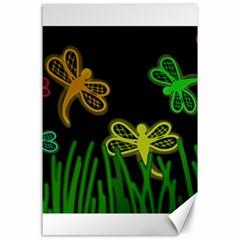 Neon dragonflies Canvas 24  x 36